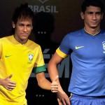 Neymar y Ganso presentaron las nuevas camisetas de la selección