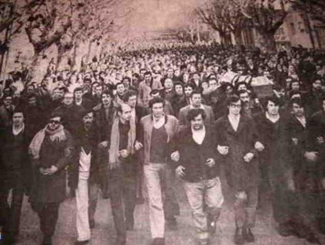 Multitud en el entierro de Líber Arce, 15 de agosto 1968