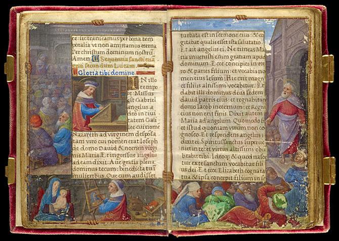 Izquierda: San Lucas escribiendo predicando y pintando un retrato de la Virgen María - Derecha: San Lucas predicando / Foto: Schecter Lee
