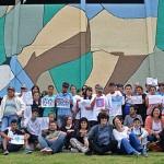 Estudiantes elaboran mural en el Estadio para promover los Derechos Humanos