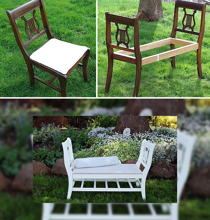 Reciclaje de sillas viejas en un asiento para dos personas