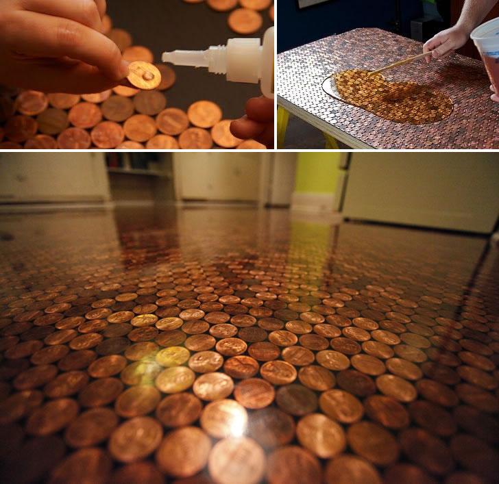 """""""Penny floor"""" una técnica en tendencia de cubrir pisos con monedas"""