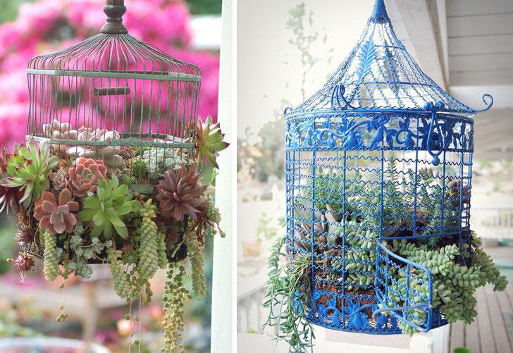 Maceta colgante de jaula para pájaros antigua reciclada