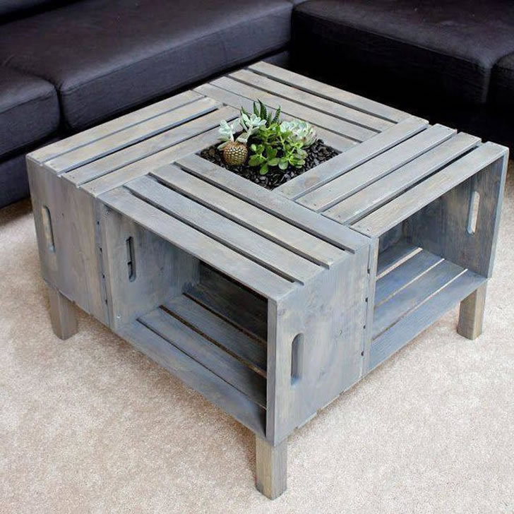 Mesa de café con maceta con cajones de madera