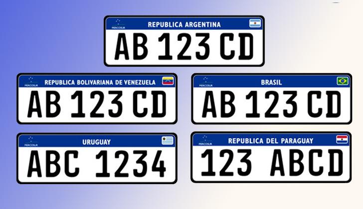 Así lucirán las nuevas matrículas de los vehículos que circulen en el Mercosur. El diseño será el mismo para todos los países integrantes.