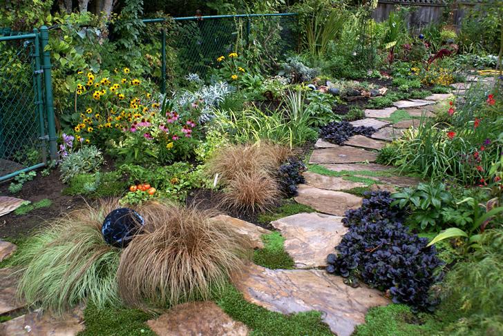 Los senderos en el patio se ven hermosos y además ayudan a la absorción de agua de lluvia