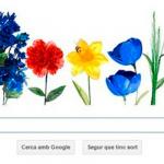 Doodle de Google para inicio de la primavera en el norte. En el hemisferio sur comienza el otoño