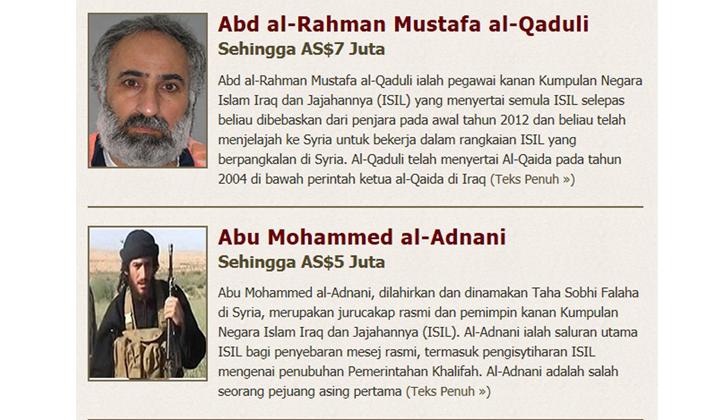 Estados Unidos ofrece 20 millones a cambio de información sobre líderes del Estado Islámico