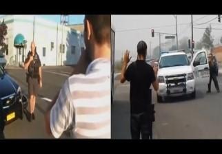 Prueban como actúa la Policía en EE.UU. cuando un hombre carga por la calle un fusil de uso legal: un hombre es blanco y el otro, negro