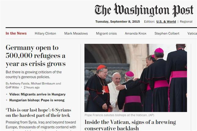 Portada web del diario Washington Post.