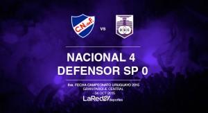 Nacional goleó a Defensor y es el único líder del Apertura