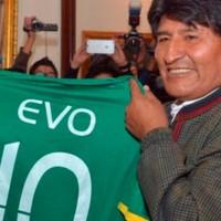 Evo Morales recibió a la selección en la previa del partido con Uruguay
