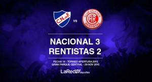 Nacional le ganó a Rentistas en la hora y le mete presión a Peñarol