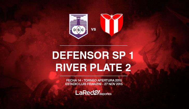 River la ganó 2 a 1 a Defensor Sporting por la penúltima fecha del Apertura .
