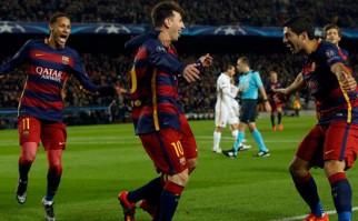 Suárez anotó 2 goles para la goleada por 6 a 1 ante la Roma. Foto: AFP
