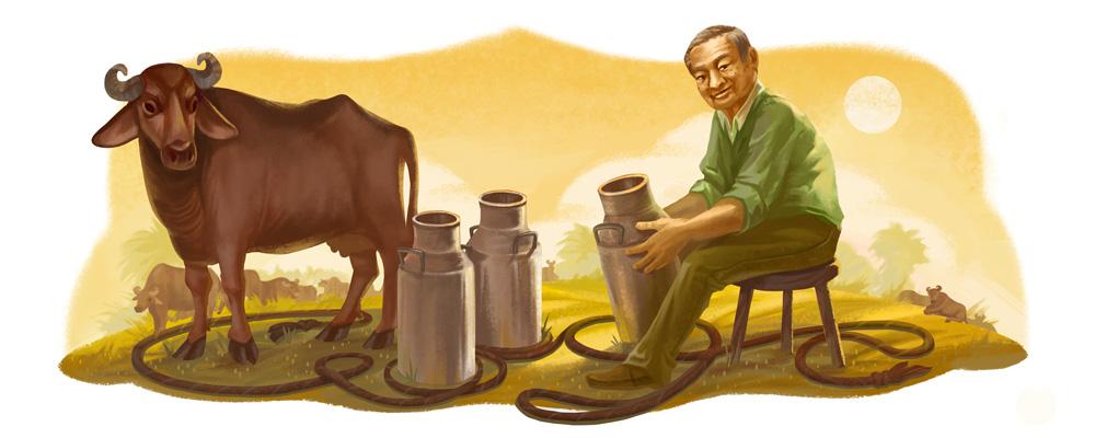 """Doodle de Google en el 94º aniversario de Verghese Kurien el """"Padre de la Revolución Blanca"""" en India"""