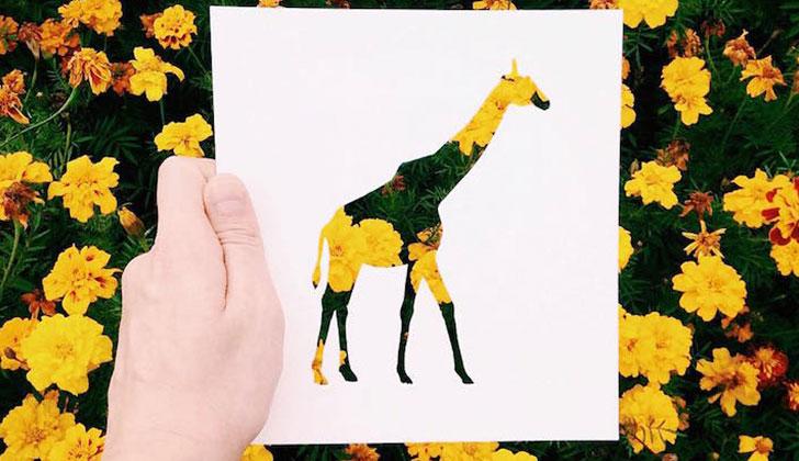 Artista da color a sus dibujos con fondos de la naturaleza ...