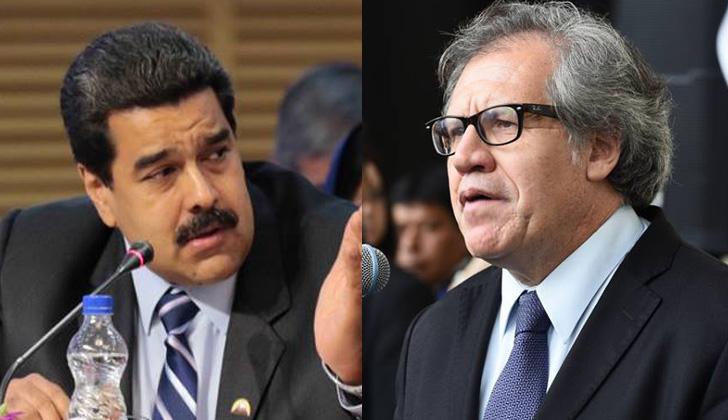 """Maduro había llamado """"hombre basura"""" a Luis Almagro en meses pasados. Fotos: Presidencia de Venezuela / OEA."""