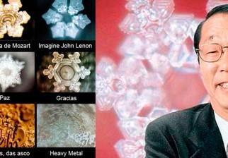 Imágenes de Masaru Emoto, sobre los cambios de las moléculas del agua.