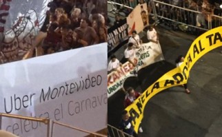 """La comparsa que acompañó a Julio Sosa """"Kanela"""" portaba un cartel que reza """"Kanela apoya al taxi""""."""