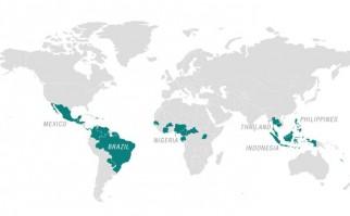 Mapa con los países marcados en donde se han registrado brotes de zika.