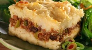 Pastel vegetariano de banana y carne de soja muy rico y nutritivo