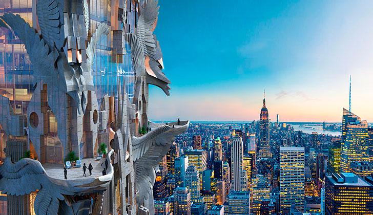 Construyen en Nueva York el primer rascacielos de estilo gótico: este año esperan superar el récord de 100 gigantes de 2015. Foto: http://www.mfga.com/