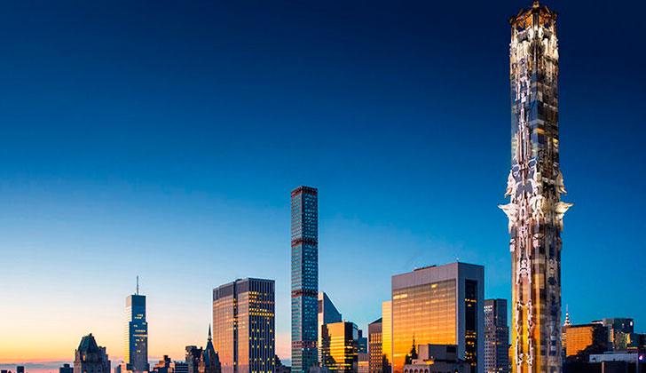 Construyen en Nueva York el primer rascacielos de estilo gótico: este año esperan superar el récord de 100 gigantes de 2015.
