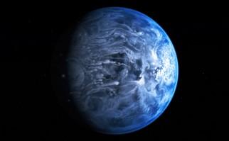 Representación artística del planeta HD 189733, luego de la confirmación por parte del Telescopio Hubble de que tiene color azul. Foto: Wikimedia Commons.