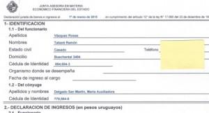 Presidencia difundió la declaración jurada de bienes de María Auxiliadora Delgado de Vázquez