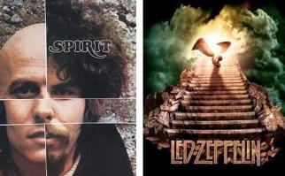 A la izquierda, la portada del disco de Spirit, y a la derecha un disco de Led Zeppelin.