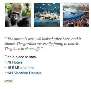 """""""Los animales están bien cuidados en este parque y se nota. Los gorilas son muy divertidos y ellos aman hacer show"""", reza un comentario en el sitio."""