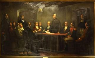 Sesión de la Sala de Representantes de la Provincia Oriental. Óleo de Eduardo de Amézaga en el Museo HIstórico Nacional.
