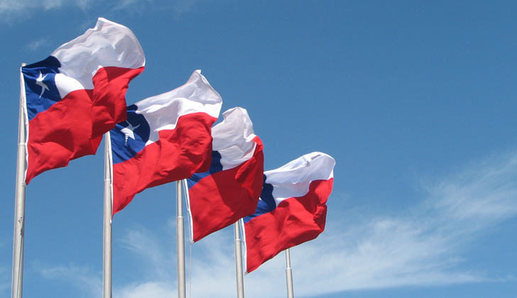 Bandera de Chile. Foto: Wikimedia Commons.