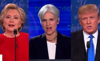 La candidata del Partido Verde Jill Stein 'se unió' al debate de Clinton y Trump  Foto: Democracy Now