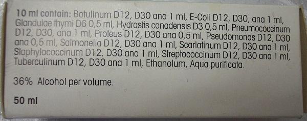 Solución homeopática que contiene peligrosas bacterias en su preparación. Foto: Wikimedia Commons.