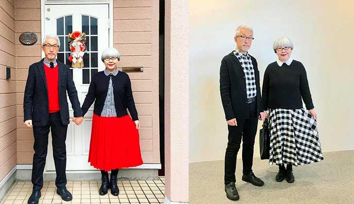 Bon y Pon, la pareja de japoneses sexagenarios que arrasa en Instagram por vestirse a juego.