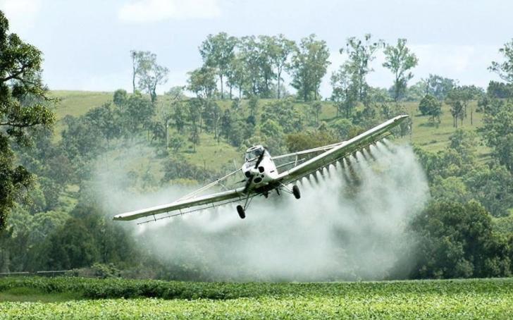 Los pesticidas suelen aplicarse con avionetas. Foto: EcoWatch