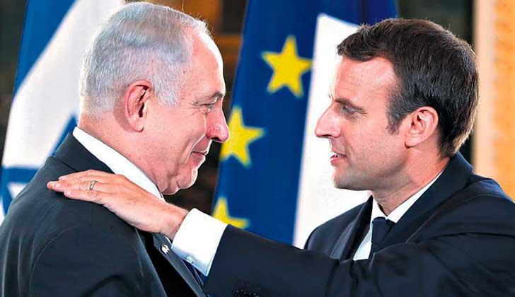 Macron reafirma ante Netanyahu la solución de dos Estados para el conflicto palestino-israelí.