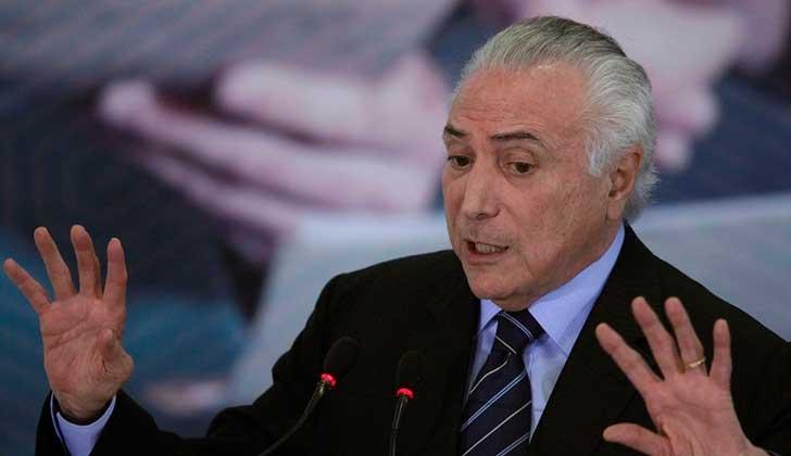 Diputados brasileños votarán sobre la denuncia contra Temer el 2 de agosto.
