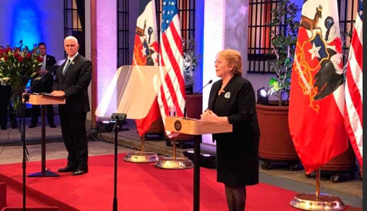 """Michelle Bachelet: """"Chile no apoyará golpes de Estado ni intervenciones militares"""" en Venezuela."""