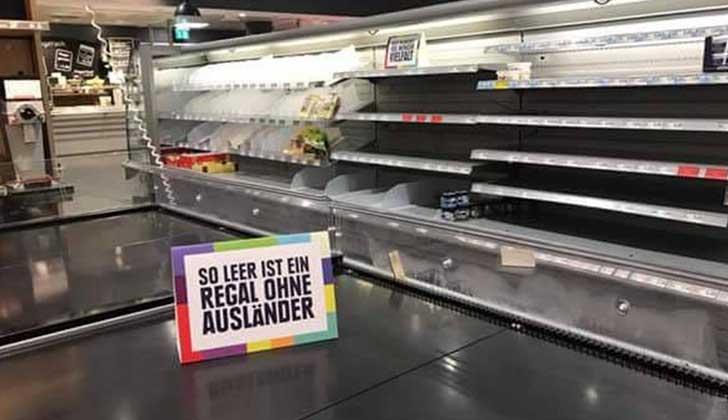 Un supermercado vació sus estantes de productos extranjeros por un buen motivo
