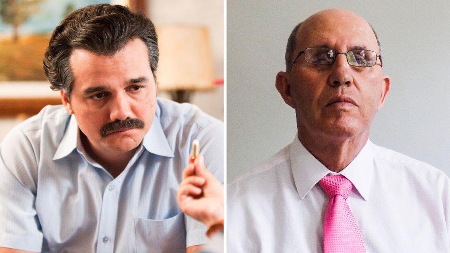 A la izquierda, Roberto Escobar representado en la serie Narcos. A la derecha, el mismo pero en la vida real. Fotos: Netflix / Escobar Inc.