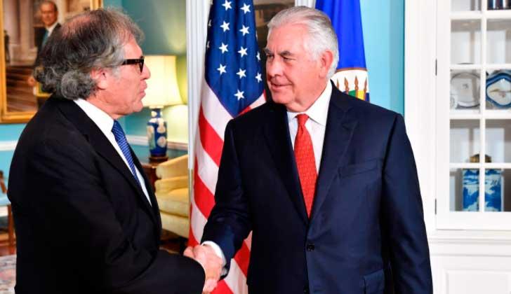 """Tillerson y Almagro piden elecciones """"totalmente libres y justas"""" en Venezuela."""