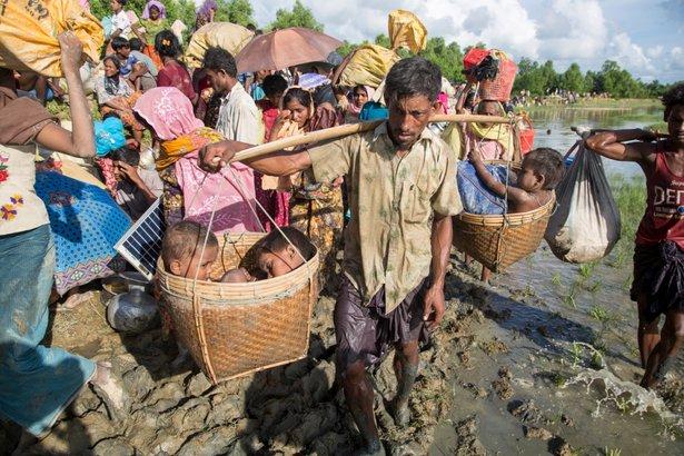 Miles de refugiados rohingya recién llegados cruzan por la zona fronteriza junto al pueblo de Anzauman Para, en Palong Khali, Bangladesh. © ACNUR/Roger Arnold¿