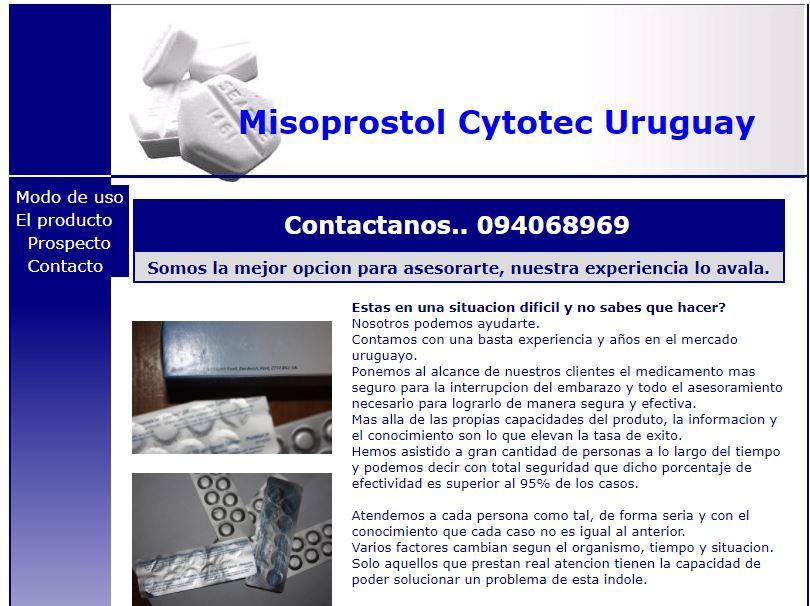 Esta página web ofrece la posibilidad de adquirir el Misoprostol sin ninguna regulación.