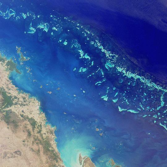 Gran Barrera de Coral. Foto desde el espacio. Foto: NASA