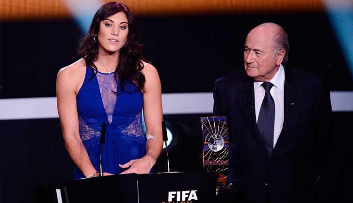 Hope Solo acusó a Joseph Blatter de abuso sexual. Foto ceremonia FIFA 2013.