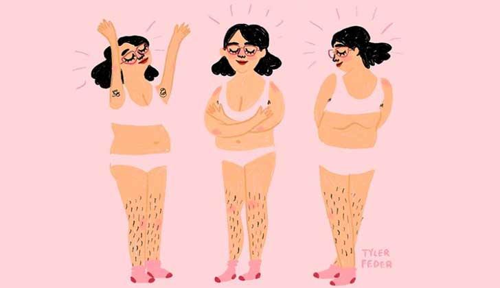"""Ilustradora estadounidense: """" Nuestra sociedad considera que el vello femenino es feo, grosero e incorrecto""""."""