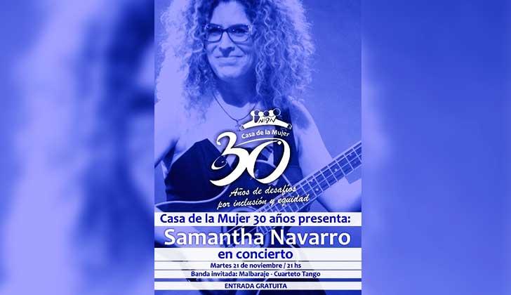 Samantha Navarro con entrada gratuita en la Sala Zitarrosa por los 30 años de la Casa de la Mujer.